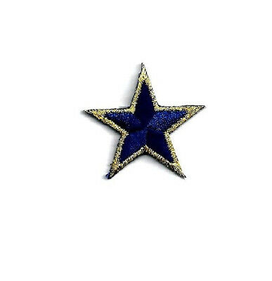 "(ONE DOZEN - 12 ) Stars ~  Navy Blue/Gold Metallic 7/8"" (2.2cm) Iron On Patches"