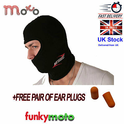 Balaclava Thermal One 1 Hole Motorcycle Motorbike Bike + Pair Ear Plugs Free