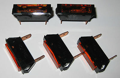 5 X Solico Series 33 Amber Rectangular Panel Mount Indicator Light - 125V Neon