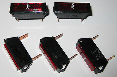 5 X Solico Series 33 Red Rectangular Automotive Temperature Warning Light - 14V