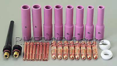 TIG KIT Long Alumina Nozzles Collet Bodies Fit TIG Torch DB SR WP 17 18 26,28PK