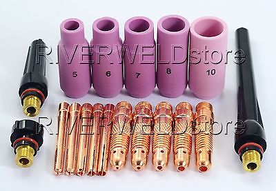 TIG KIT Alumina Nozzle Collet Bodies Back Cap Fit TIG Torch SR WP 17 18 26,18PK