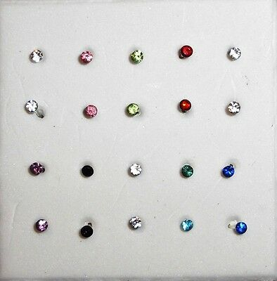 925 Sterling Silver Crystal Rod Nose Stud Ring Sparkle Jewelry