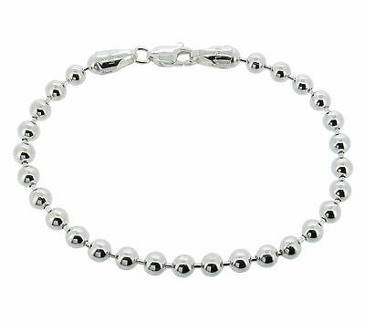 925 Solid Sterling Silver Ladies Bead Ball Bracelet 4.5mm or 6mm