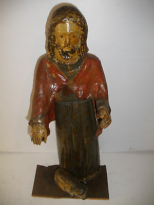 RARE ANTIQUE 18/19th JESUS CHRIST AS SHEPHERD HAND CARVED WOOD FIGURE SCULPTURE