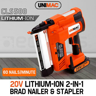 NEW Unimac Brad Nail/Staple Gun 2-in-1 20V Lithium 18ga Framing Nailer Nail Gun