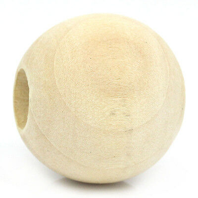"40PCs Wood Spacer Beads Round Ball Natural 25mm Dia.(1"")"