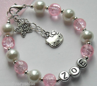 Girls Personalised Hello Kitty Present Bracelet Christmas Birthday Gift