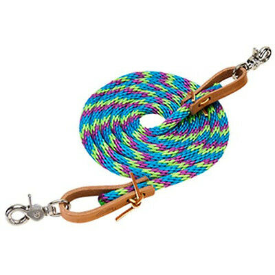 Weaver poly roping barrel Braided rope reins 8 FEET turquoise lime purple