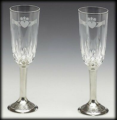 Pewter Crystal Champagne Wedding Flute Set - Plain or Claddagh