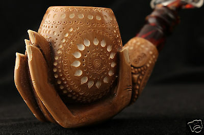 Deluxe Lady´s Hand Block Meerschaum Pipe in a fit CASE 5366 Special Dark Finish