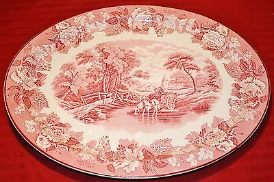 Large English Woods English Scenery Woods Ware Red Oval Platter