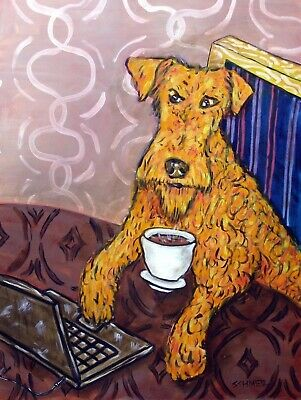 irish terrier at the cafe coffee shop signed dog art print 8x10 gifts