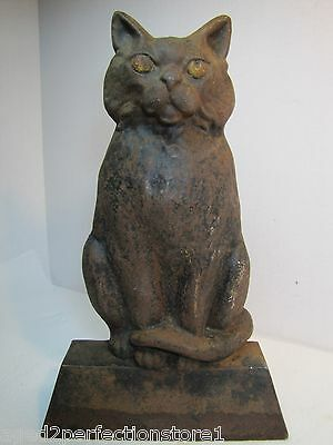 Antique Cast Iron Black Cat Doorstop large heavy old ornate details scary stare