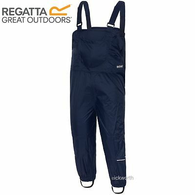 Regatta Kids Mud Jump Waterproof Dungarees Rain Over Trousers Boys Girls Childs
