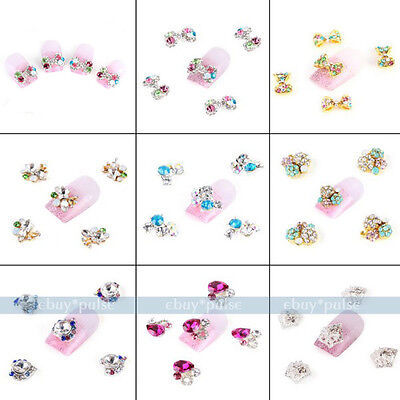 5x Alloy 3D Colorful Crystal Bow Tie Heart Drop Nail Art Glitters DIY Decoration