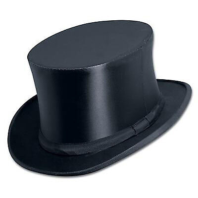 Non Collapsible Black Satin Top Hat