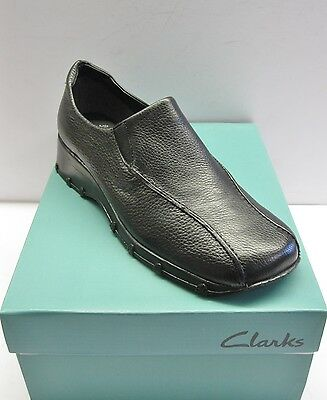 Clarks Casuals Shoes Ladies Indana Black Leather Grained Slip On Size 6.5-10