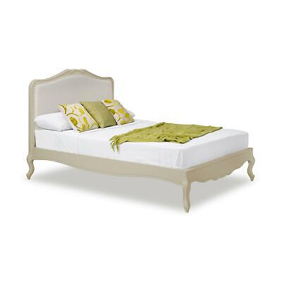 Stunning Shabby Chic upholstered bed, cream king size bed, hand carved headboard