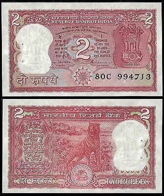 India 2 RUPEES Letter B Sign. 86 P 53Ae UNC
