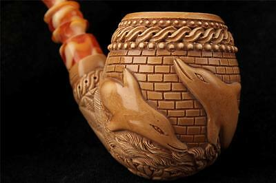 Tri Dolphins Hand Carved by I. BAGLAN Block Meerschaum Pipe in  fitted case 5394