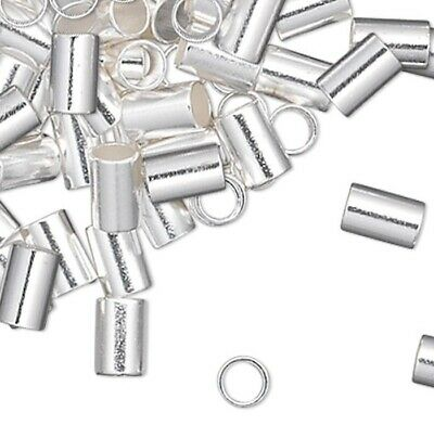 100 Silver Plated 2.5mm Crimp Tube   * Crimping Beads