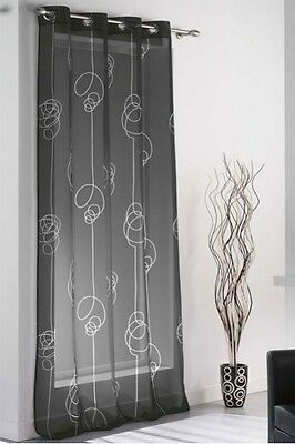 neu voile gardine stores stickerei schwarz weiss mit. Black Bedroom Furniture Sets. Home Design Ideas