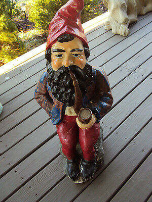 RARE Cement Garden GNOME Outdoor Elf  Pipe Smoker TOBACCIANA DOOR STOP