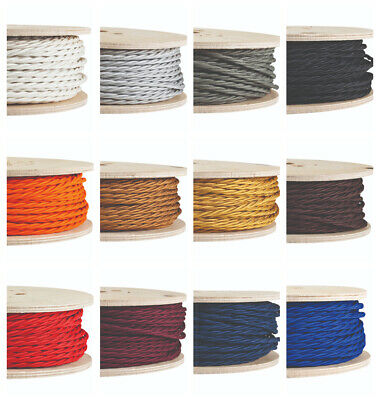 Coloured twisted 3 core Italian fabric lighting flex cable cord | vintage