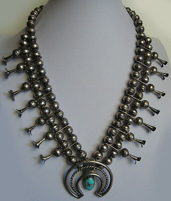 Deluxe Vintage Navajo Indian Silver Squash Blossom Turquoise Necklace