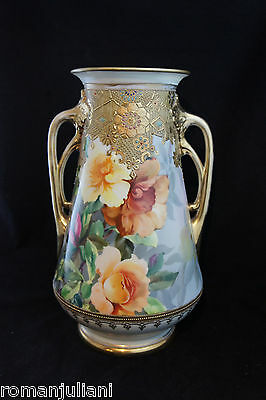 """Antique Nippon JEWELED Gold Moriage Beaded 13"""" VASE c.1911 Hand Painted Roses"""