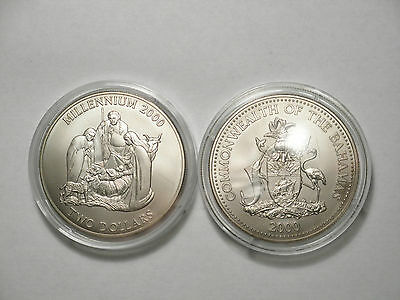 Bahamas $2 Two Dollar Millennium Coin Year 2000 Low Mintage Uncirculate Nativity