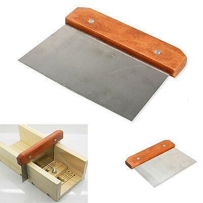 Hardwood Handle Soap Cutter Straight Stainless Wax Dough Slicer Soap Making LS4G