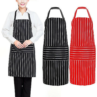 Plain Stripe Kitchen Apron with Front Pocket for Chefs Butchers Cooking Baking