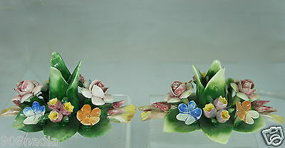 VINTAGE CAPODIMONTE ART POTTERY FLORAL CANDLESTICK/HOLDER PAIR,PINK/GREEN/BLUE