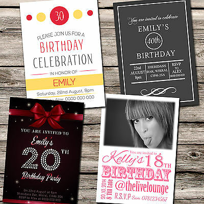 Personalised 18th 21st 30th 40th Birthday Party Invitations & Envelopes AB4