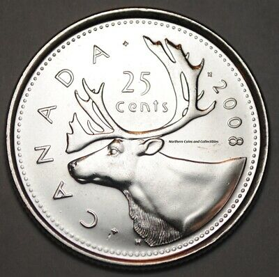 Canada 2008 25 cents Nice UNC from roll - BU Canadian Caribou Quarter