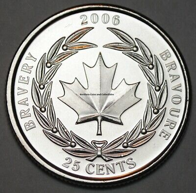 Canada 2006 Bravery 25 cents Nice UNC from roll - BU Canadian Quarter