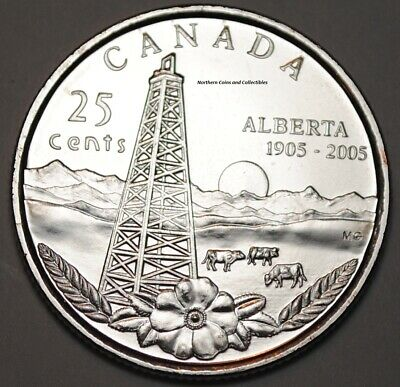 Canada 2005 Alberta 25 cents Nice UNC from roll - BU Canadian Quarter