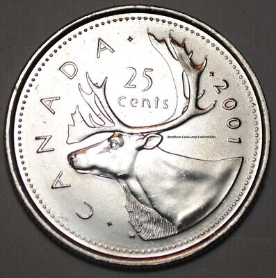 Canada 2001 NO P 25 cents Nice UNC from roll - BU Canadian Caribou Quarter