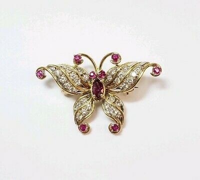 Estate Vintage Diamond & Ruby 14K Yellow Gold Butterfly Brooch Pin Womens Ladies