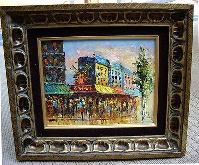 Vintage ABSTRACT Colorful Oil on Canvas~Frame Made in Mexico