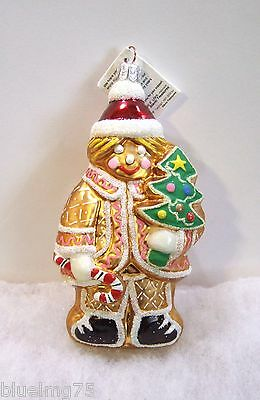 Slavic Treasures Ornament Ginger Boy Glass Poland NIB (S5)