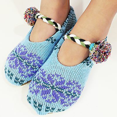 New Winter Warm Fleece-Lined Knit Indoor Slipper Booties Women/Ladies/Girls