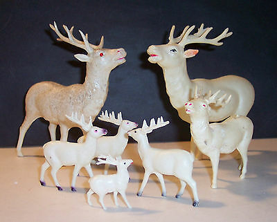 """B) antique celluloid 7 reindeer holiday christmas lot 6"""" -1.25"""" occupied japan"""