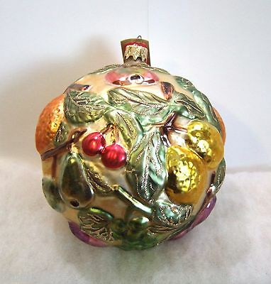 Slavic Treasures Ornament Fruit And Leaves Ball Glass Poland NIB (S5)