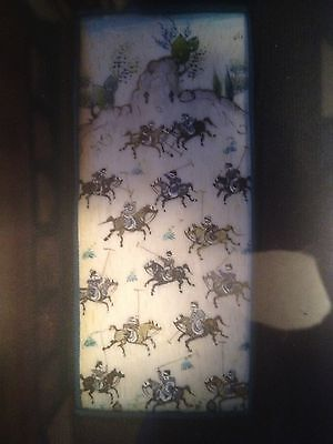 Antique Asian Oriental Miniature Painting on Bovine - Men on Horses Playing Game