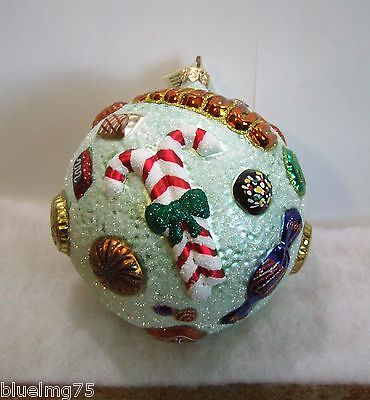 Slavic Treasures Ornament Christmas Candy Ball Green Glass Poland NIB (S5)