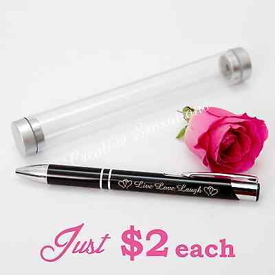 Engraved Metal Pen in Case Live Love Laugh Wedding Favour Bomboniere Gift