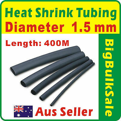 400m x Heat Shrink Tubing Diam 1.5mm Black Aus Seller